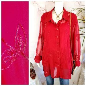 Silkland gorgeous embroidered silk layered shirt